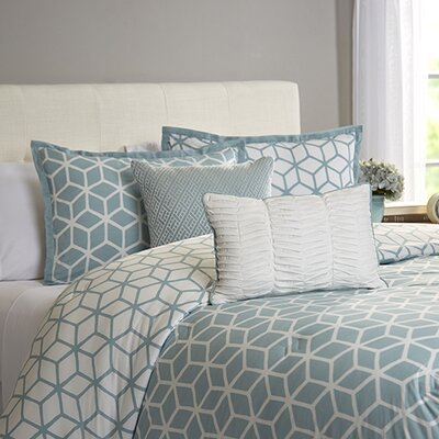 Bronte 5 Piece Reversible Comforter Set Color: Aqua, Size: Queen