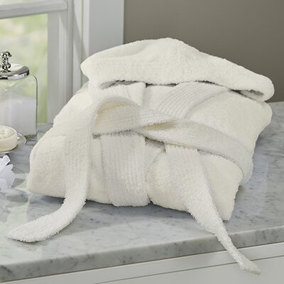 Huxley Turkish Cotton Hooded Bathrobe Color: Ivory