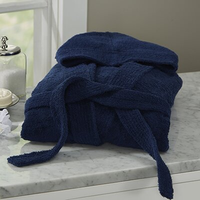 Huxley Turkish Cotton Hooded Bathrobe Color: Navy Blue