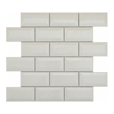 Vogue 2 x 4/12 x 12 Ceramic and Glass Bevel Mosaic Tile in Gray Matte