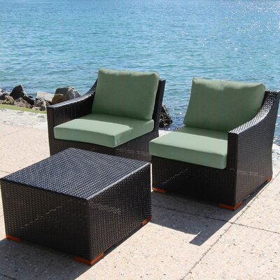 Marcelo 3 Piece Deep Seating Group with Cushion Fabric: Dura-Fast Fragship Blue