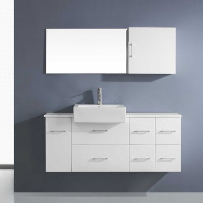 Hazel 56 Single Bathroom Vanity Set with Black Top and Mirror Base Finish: White
