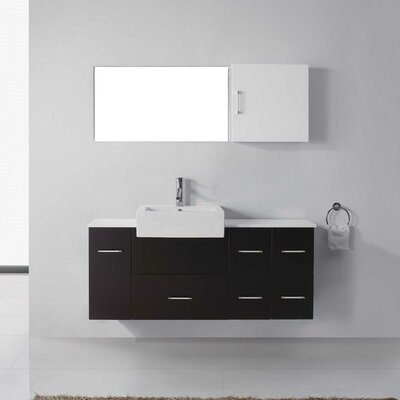 Hazel 56 Single Bathroom Vanity Set with Black Top and Mirror Base Finish: Espresso