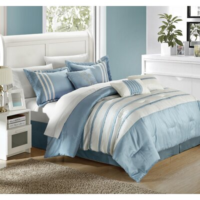 Torino Pleated Piecing 11 Piece Comforter Set Color: Blue, Size: Queen