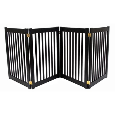 Brayden Amish Handcrafted 4 Panel Free Standing EZ Gate Finish: Black, Size: 32 H x 72 W
