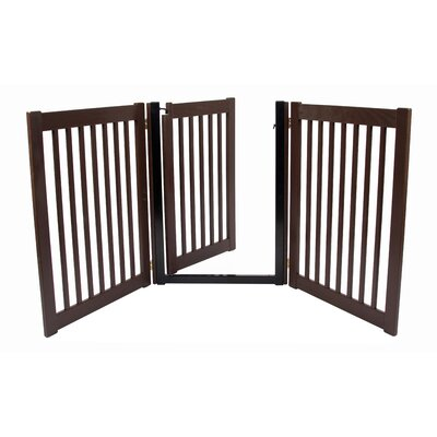 Matson Amish Handcrafted 32 3 Panel Walk-Through Free Standing Gate Finish: Mahogany