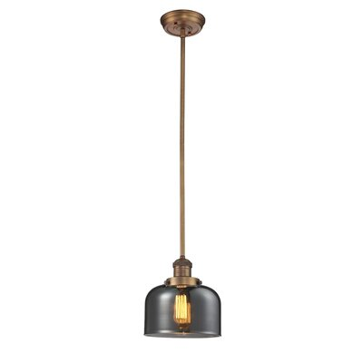 Glass Bell 1-Light Pendant Shade Color: Smoked, Finish: Brushed Brass