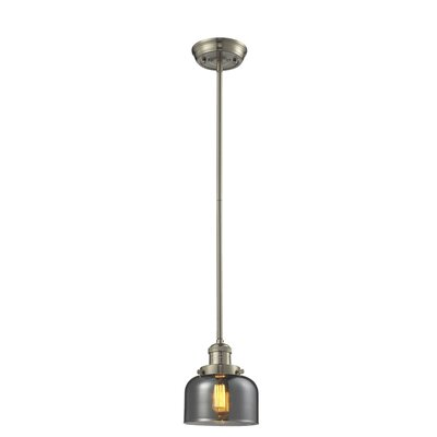 Glass Bell 1-Light Pendant Shade Color: Smoked, Finish: Satin Nickel