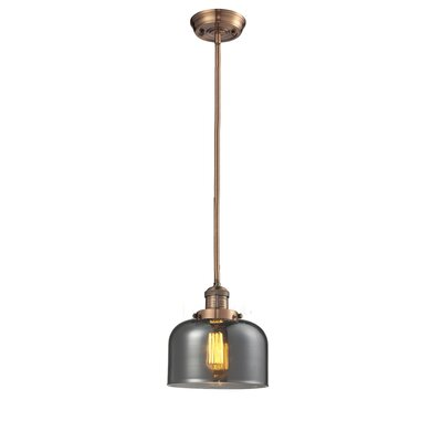 Glass Bell 1-Light Pendant Finish: Antique Copper, Shade Color: Smoked