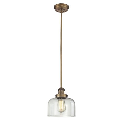 Glass Bell 1-Light Pendant Shade Color: Clear, Finish: Brushed Brass