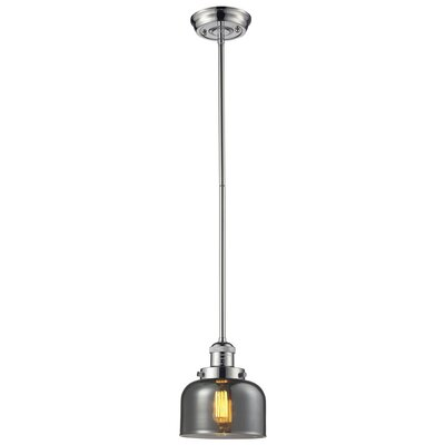 Glass Bell 1-Light Pendant Shade Color: Smoked, Finish: Polished Nickel