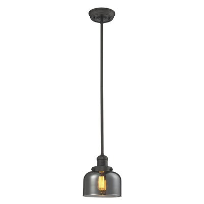 Glass Bell 1-Light Pendant Shade Color: Smoked, Finish: Oiled Rubbed Bronze