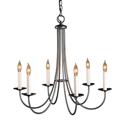 Simple Sweep 6-Light Candle-Style Chandelier Finish: Natural lron