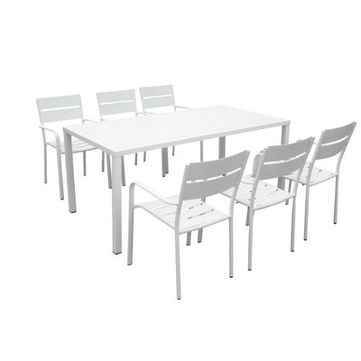 Molnar 7 Piece Dining Set Color: White