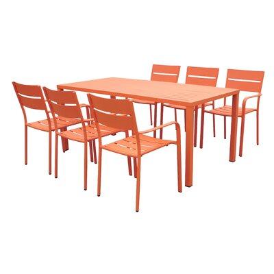 Molnar 7 Piece Dining Set Color: Orange