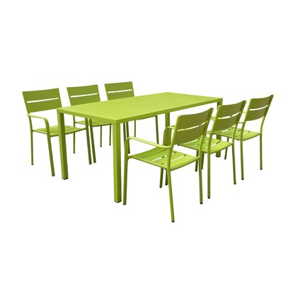 Molnar 7 Piece Dining Set Color: Green