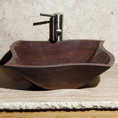 Curve Rectangular Vessel Bathroom Sink Sink Finish: Mocha Cream Marble / High Sheen Polish
