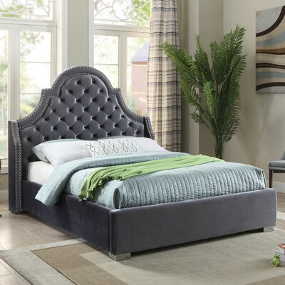 Grove Upholstered Platform Bed Size: King, Color: Grey