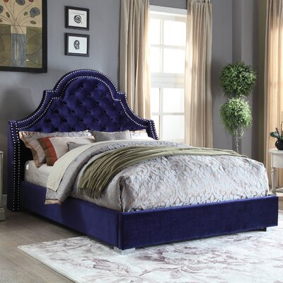 Grove Upholstered Platform Bed Size: King, Color: Navy