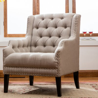 Denim Fabric Wing back Chair Color: Moonlight