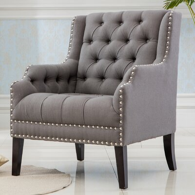 Denim Fabric Wing back Chair Color: Gray