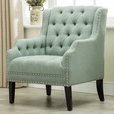 Denim Fabric Wing back Chair Color: Celadon