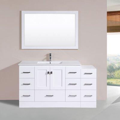 Luci 60 Single Modern Bathroom Side Cabinet Vanity Set Finish: White