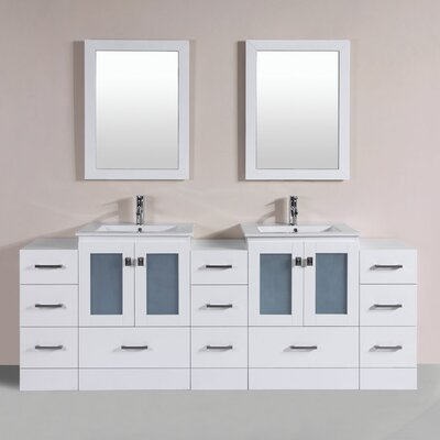 Hermosa 84 Double Modern Bathroom 3 Side Cabinets Vanity Set with Mirror