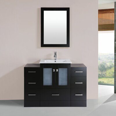 Terese 48 Single Modern Bathroom 2 Side Cabinets Vanity Set Base Finish: Espresso