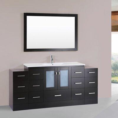 Terese 72 Single Modern Bathroom 2 Side Cabinets Vanity Set Base Finish: Espresso