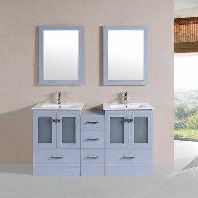 Terese 60 Double Modern Bathroom Side Cabinet Vanity Set Base Finish: Gray