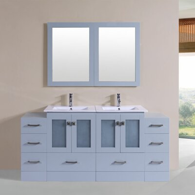 Terese 72 Double Modern Bathroom 2 Side Cabinets Vanity Set Base Finish: Gray