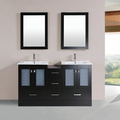 Terese Modern 60 Double Bathroom Vanity Set with Mirror Base Finish: Espresso