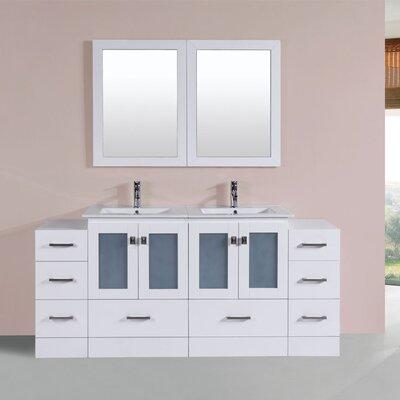 Terese 72 Double Modern Bathroom 2 Side Cabinets Vanity Set Base Finish: White