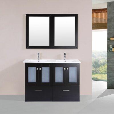 Lapoint Modern 48 Double Bathroom Vanity Set with Mirror Base Finish: Espresso