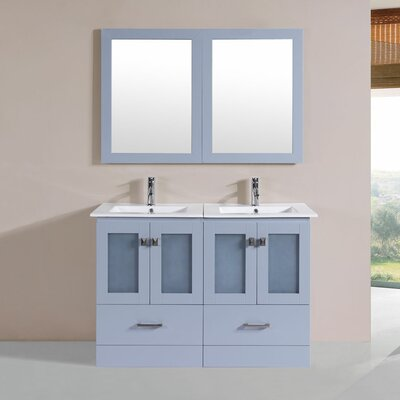 Lapoint Modern 48 Double Bathroom Vanity Set with Mirror Base Finish: Gray
