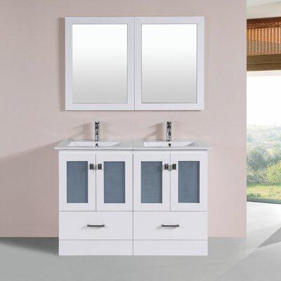 Terese 48 Double Modern Bathroom Vanity Set Base Finish: White