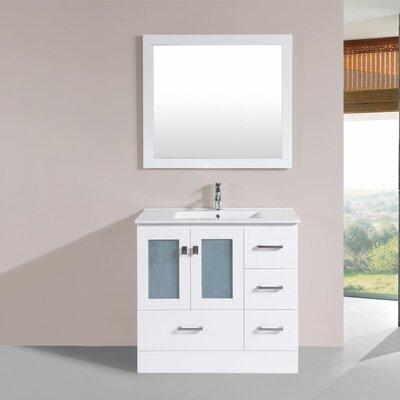 Terese 36 Single Modern Bathroom Right Side Cabinet Vanity Set Base Finish: White