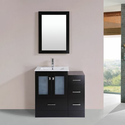 Terese 36 Single Modern Bathroom Side Cabinet Vanity Set Base Finish: Espresso