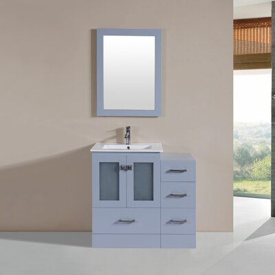 Terese Modern 36 Single Bathroom Vanity Set with Mirror Base Finish: Gray