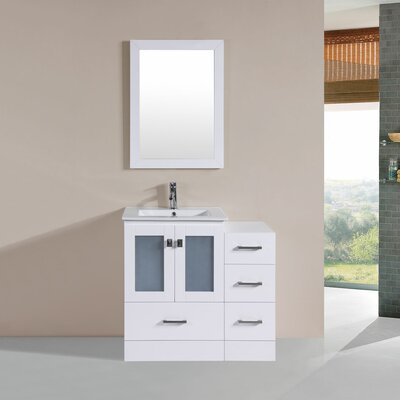 Terese Modern 36 Single Bathroom Vanity Set with Mirror Base Finish: White