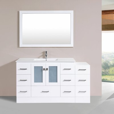 Terese 60 Single Modern Bathroom Side Cabinet Vanity Set Base Finish: White
