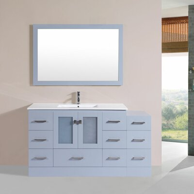 Terese 60 Single Modern Bathroom Side Cabinet Vanity Set Base Finish: Gray