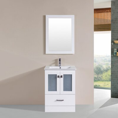 Terese Modern 24 Single Bathroom Vanity Set with Mirror Base Finish: White