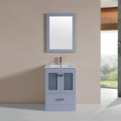 Lapoint Modern 24 Single Bathroom Vanity Set with Mirror Base Finish: Gray