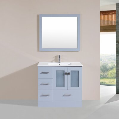 Terese 36 Single Modern Bathroom Left Side Cabinet Vanity Set Base Finish: Gray