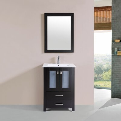 Lyn 24 Single Modern Bathroom Vanity Set Base Finish: Espresso