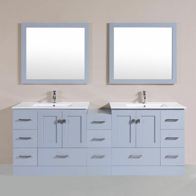 Luci 84 Double Modern Bathroom Side Cabinet Vanity Set Finish: Gray