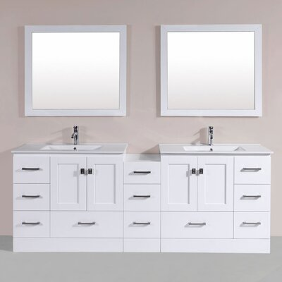 Luci 84 Double Modern Bathroom Side Cabinet Vanity Set Finish: White