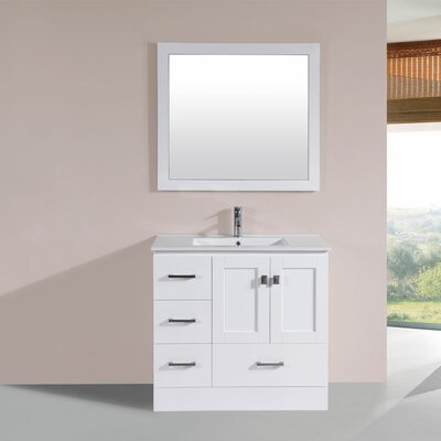 Luci 36 Single Modern Bathroom Left Side Cabinet Vanity Set Base Finish: White
